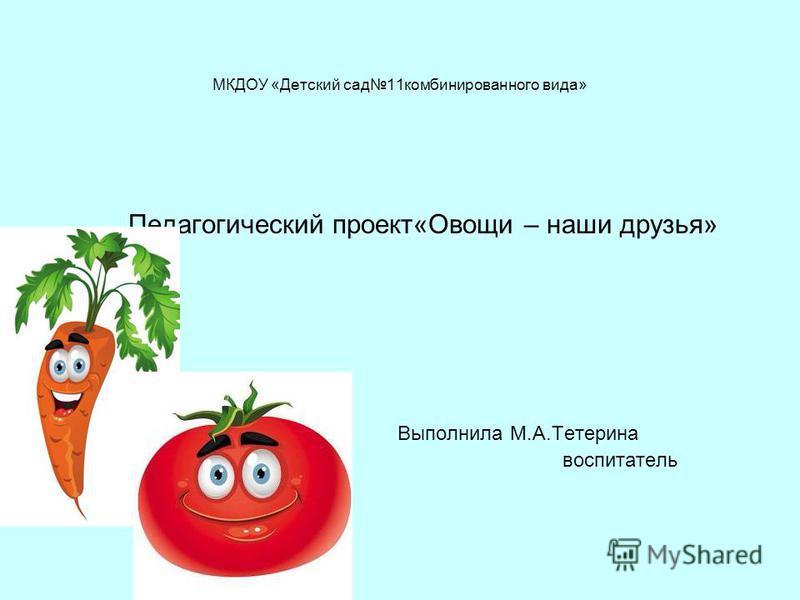 МКДОУ «Детский сад 11 комбинированного вида» Педагогический проект«Овощи – наши друзья» Выполнила М.А.Тетерина воспитатель