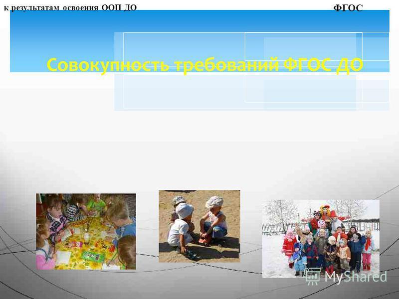 Совокупность требований ФГОС ДО к структуре ООП ДОк условиям реализации ООП ДОк результатам освоения ООП ДО ФГОС