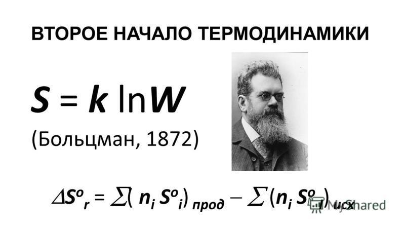 ВТОРОЕ НАЧАЛО ТЕРМОДИНАМИКИ S = k lnW (Больцман, 1872) S о r = ( n i S o i ) прод (n i S o I ) исх