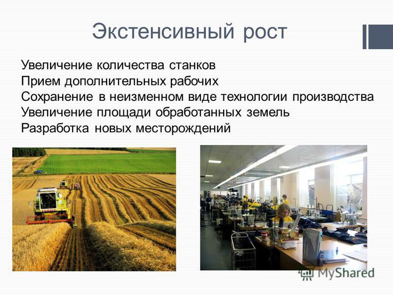 Экстенсивный рост Увеличение количества станков Прием дополнительных рабочих Сохранение в неизменном виде технологии производства Увеличение площади обработанных земель Разработка новых месторождений