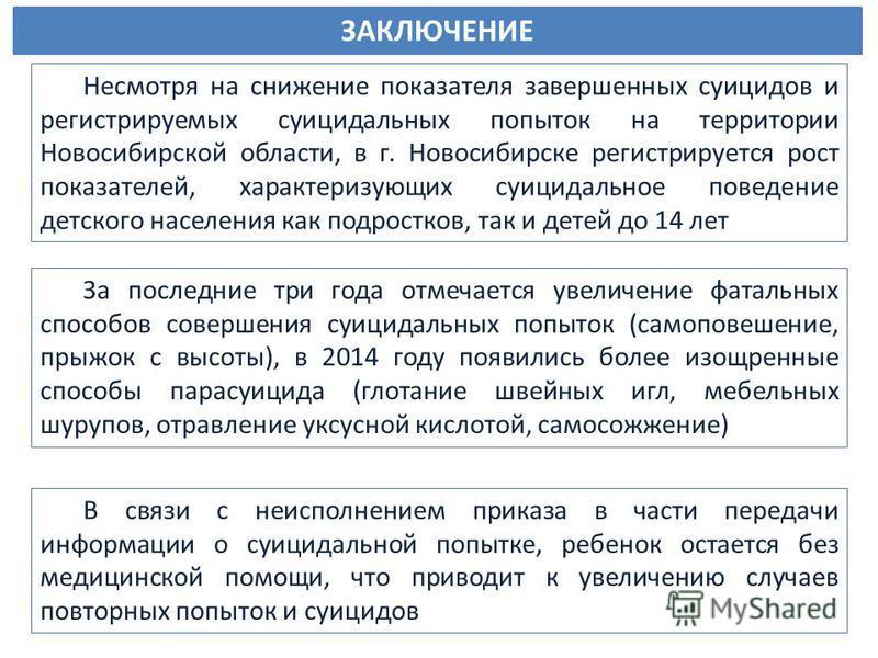 Несмотря на снижение показателя завершенных суицидов и регистрируемых суицидальных попыток на территории Новосибирской области, в г. Новосибирске регистрируется рост показателей, характеризующих суицидальное поведение детского населения как подростко