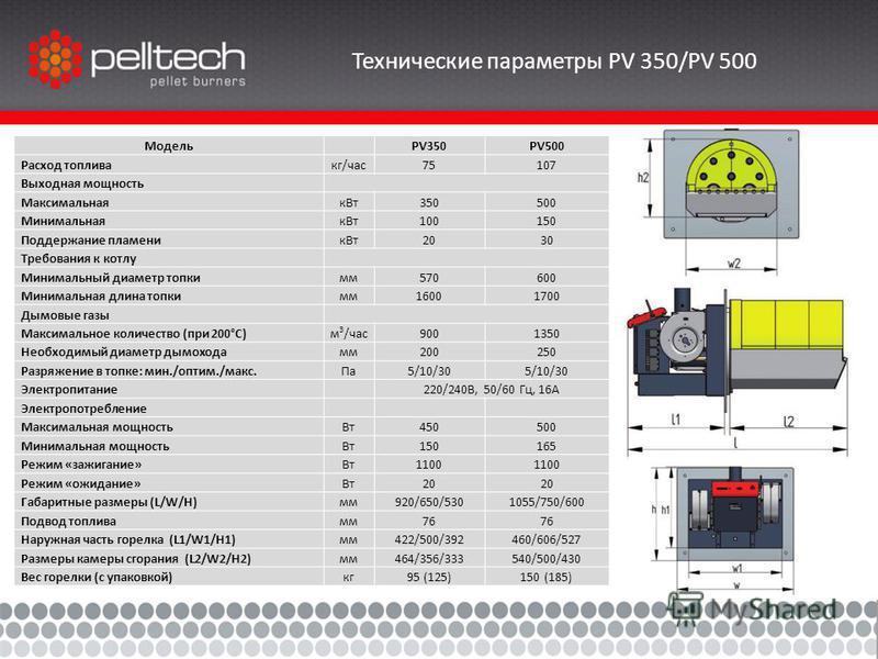 Технические параметры PV 350/PV 500 Модель PV350PV500 Расход топлива кг/час 75107 Выходная мощность Максимальнаяк Вт 350500 Минимальнаяк Вт 100150 Поддержание пламеник Вт 2030 Требования к котлу Минимальный диаметр топким 570600 Минимальная длина топ