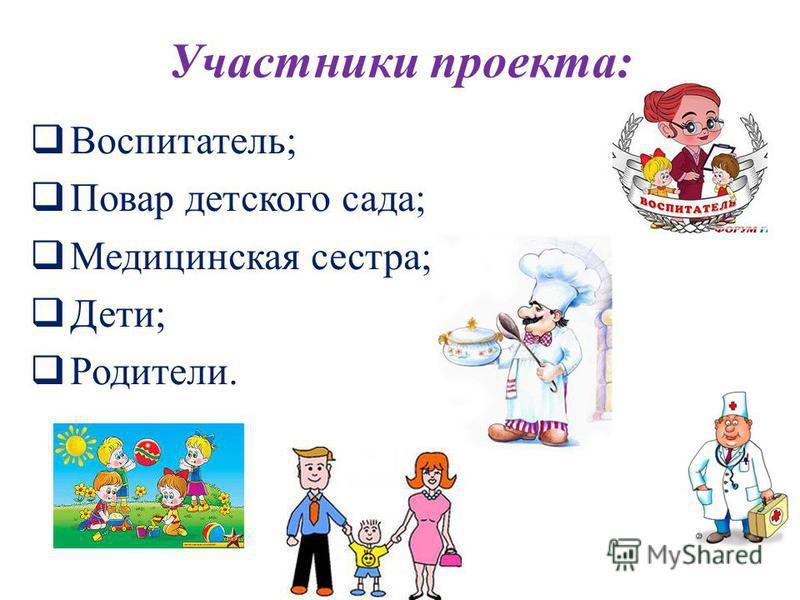 Участники проекта: Воспитатель; Повар детского сада; Медицинская сестра; Дети; Родители.