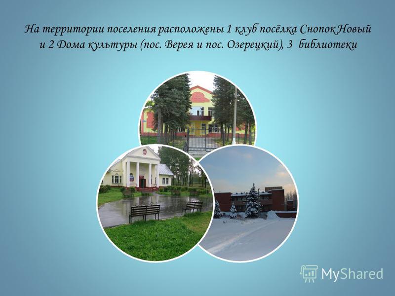 На территории поселения расположены 1 клуб посёлка Снопок Новый и 2 Дома культуры (пос. Верея и пос. Озерецкий), 3 библиотеки