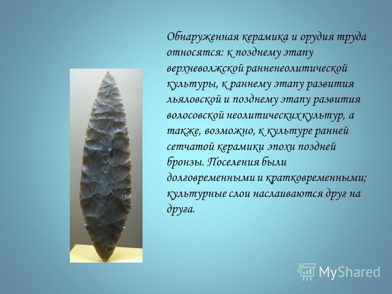 Обнаруженная керамика и орудия труда относятся: к позднему этапу верхневолжской ранненеолитической культуры, к раннему этапу развития ульяновской и позднему этапу развития волосовской неолитических культур, а также, возможно, к культуре ранней сетчат
