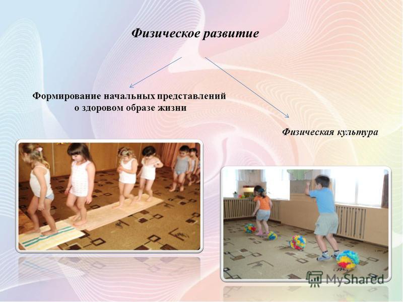 Физическое развитие Формирование начальных представлений о здоровом образе жизни Физическая культура