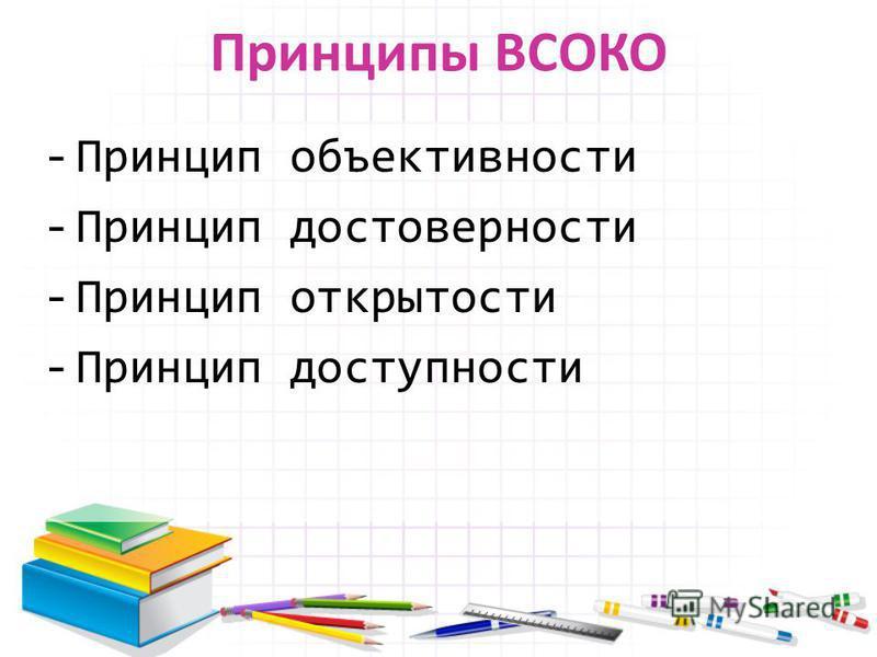 Принципы ВСОКО -Принцип объективности -Принцип достоверности -Принцип открытости -Принцип доступности