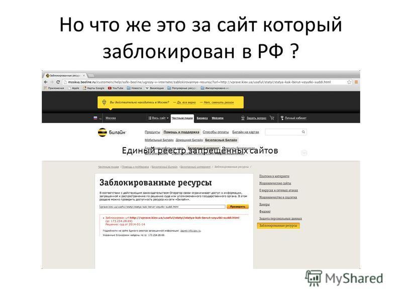 Но что же это за сайт который заблокирован в РФ ? Единый реестр запрещённых сайтов