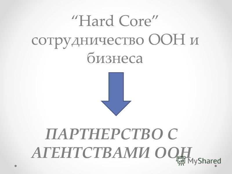 Hard Core сотрудничество ООН и бизнеса ПАРТНЕРСТВО С АГЕНТСТВАМИ ООН