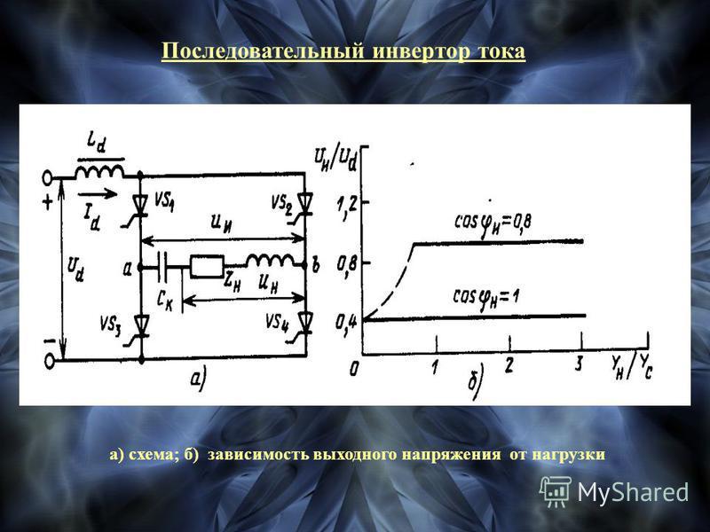 Последовательный инвертор тока а) схема; б) зависимость выходного напряжения от нагрузки