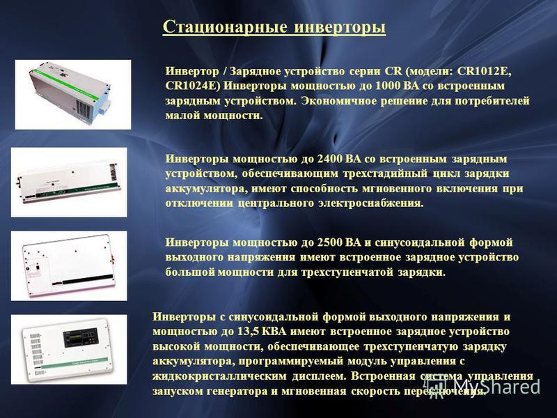 Стационарные инверторы Инвертор / Зарядное устройство серии CR (модели: CR1012E, CR1024E) Инверторы мощностью до 1000 ВА со встроенным зарядным устройством. Экономичное решение для потребителей малой мощности. Инверторы мощностью до 2400 ВА со встрое
