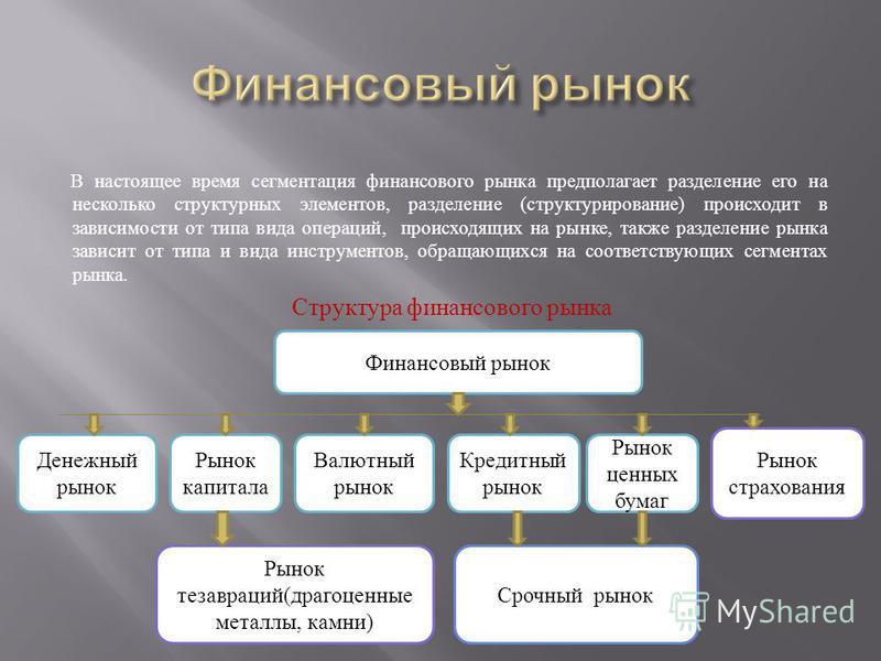 В настоящее время сегментация финансового рынка предполагает разделение его на несколько структурных элементов, разделение ( структурирование ) происходит в зависимости от типа вида операций, происходящих на рынке, также разделение рынка зависит от т