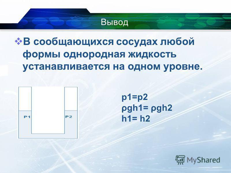 Вывод В сообщающихся сосудах любой формы однородная жидкость устанавливается на одном уровне. р 1=р 2 ρgh1= ρgh2 h1= h2