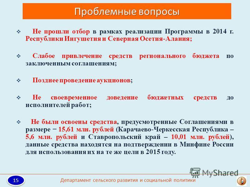 Проблемные вопросы Не прошли отбор в рамках реализации Программы в 2014 г. Республики Ингушетия и Северная Осетия-Алания; Слабое привлечение средств регионального бюджета по заключенным соглашениям; Позднее проведение аукционов; Не своевременное дове