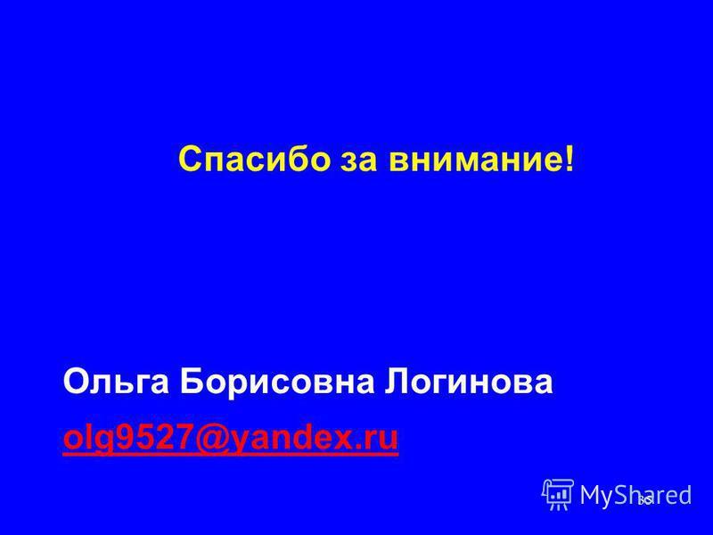 35 Спасибо за внимание! Ольга Борисовна Логинова olg9527@yandex.ru