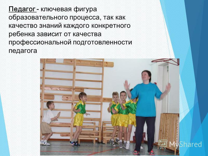 Педагог - ключевая фигура образовательного процесса, так как качество знаний каждого конкретного ребенка зависит от качества профессиональной подготовленности педагога