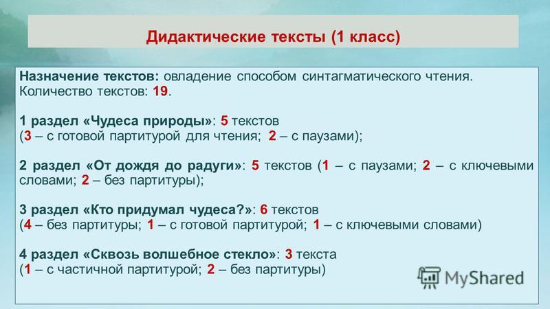 Дидактические тексты (1 класс) Назначение текстов: овладение способом синтагматического чтения. Количество текстов: 19. 1 раздел «Чудеса природы»: 5 текстов (3 – с готовой партитурой для чтения; 2 – с паузами); 2 раздел «От дождя до радуги»: 5 тексто