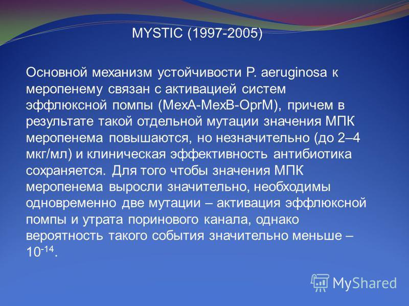 MYSTIC (1997-2005) Основной механизм устойчивости P. aeruginosa к меропенему связан с активацией систем эффлюксной помпы (MexA-MexB-OprM), причем в результате такой отдельной мутации значения МПК меропенема повышаются, но незначительно (до 2–4 мкг/мл