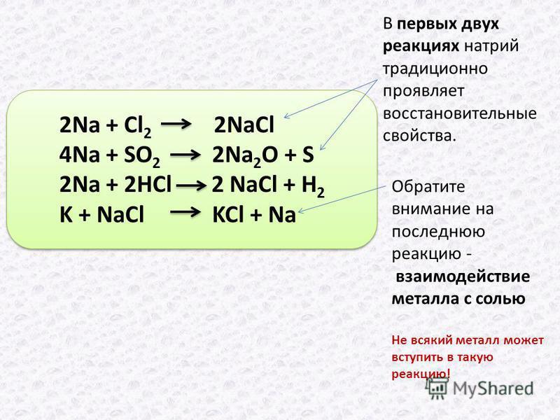 2Na + Cl 2 2NaCl 4Na + SO 2 2Na 2 O + S 2Na + 2HCl 2 NaCl + H 2 K + NaCl KCl + Na В первых двух реакциях натрий традиционно проявляет восстановительные свойства. Обратите внимание на последнюю реакцию - взаимодействие металла с солью Не всякий металл