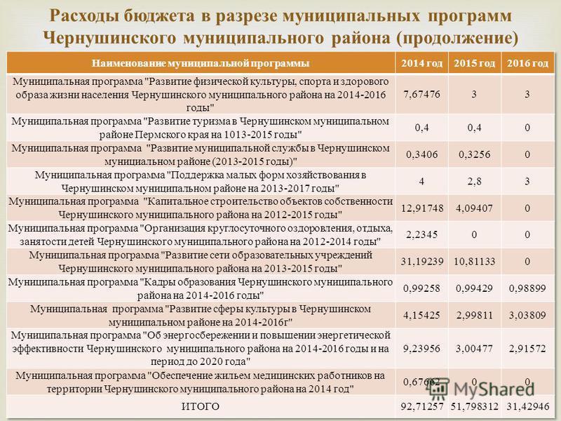 Расходы бюджета в разрезе муниципальных программ Чернушинского муниципального района ( продолжение )