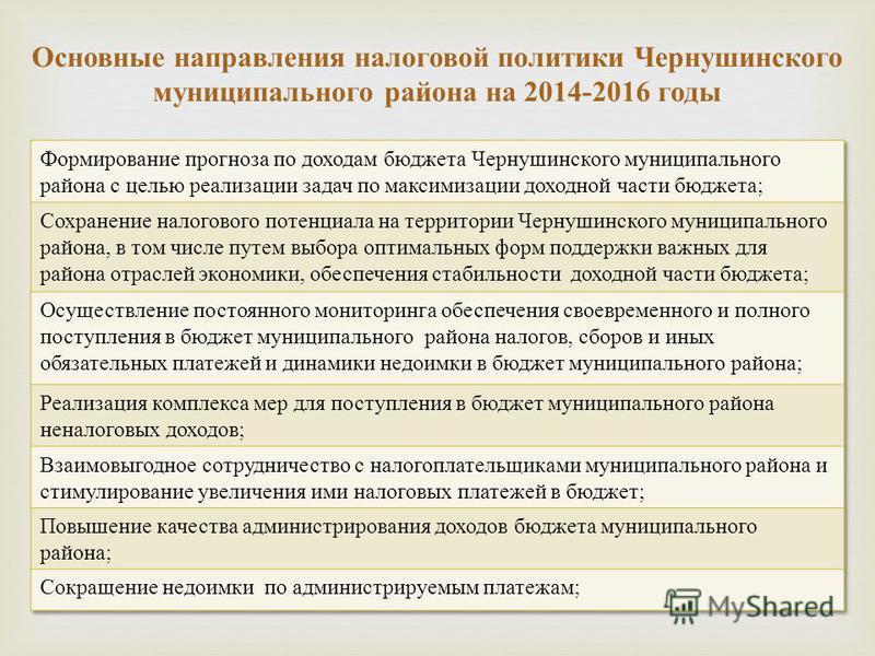 Основные направления налоговой политики Чернушинского муниципального района на 2014-2016 годы