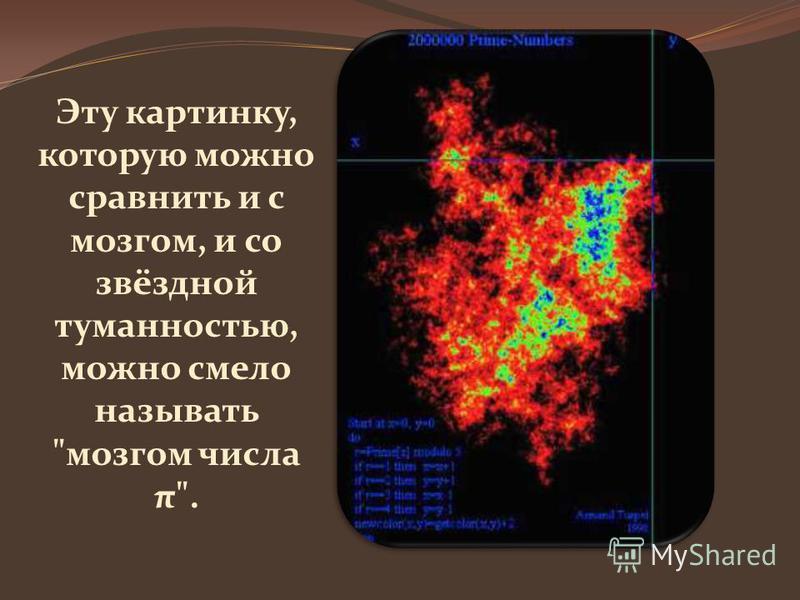 Эту картинку, которую можно сравнить и с мозгом, и со звёздной туманностью, можно смело называть мозгом числа π.