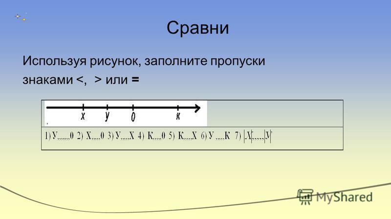 Сравни Используя рисунок, заполните пропуски знаками или =