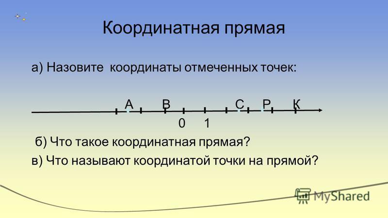 Координатная прямая а) Назовите координаты отмеченных точек: А В С Р К 0 1 б) Что такое координатная прямая? в) Что называют координатой точки на прямой?
