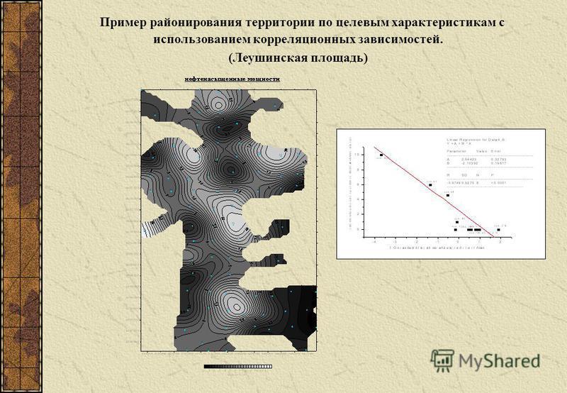 Пример районирования территории по целевым характеристикам с использованием корреляционных зависимостей. (Леушинская площадь)