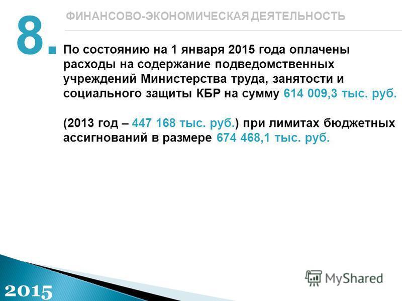 По состоянию на 1 января 2015 года оплачены расходы на содержание подведомственных учреждений Министерства труда, занятости и социального защиты КБР на сумму 614 009,3 тыс. руб. (2013 год – 447 168 тыс. руб.) при лимитах бюджетных ассигнований в разм