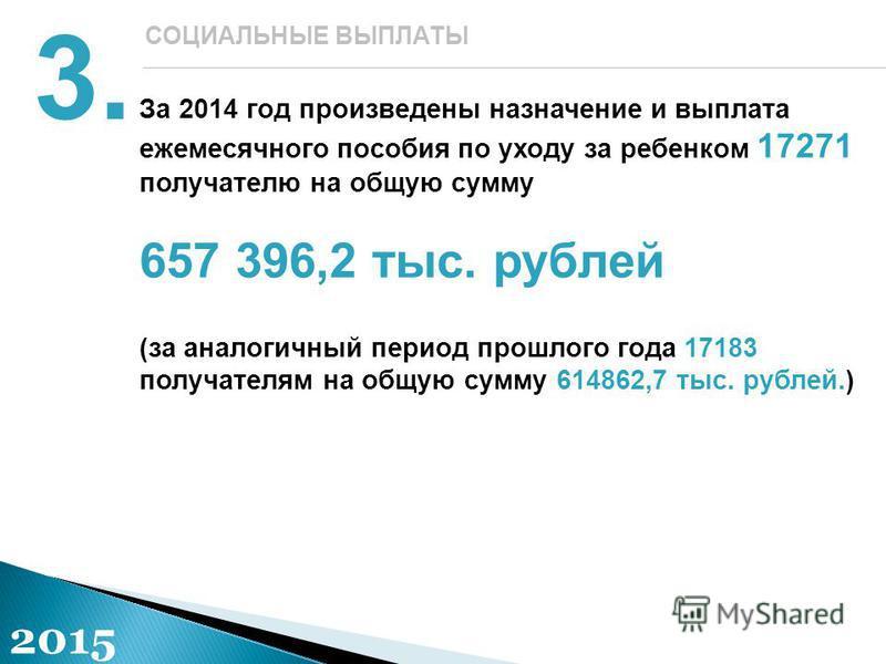 За 2014 год произведены назначение и выплата ежемесячного пособия по уходу за ребенком 17271 получателю на общую сумму 657 396,2 тыс. рублей (за аналогичный период прошлого года 17183 получателям на общую сумму 614862,7 тыс. рублей.) 3. СОЦИАЛЬНЫЕ ВЫ