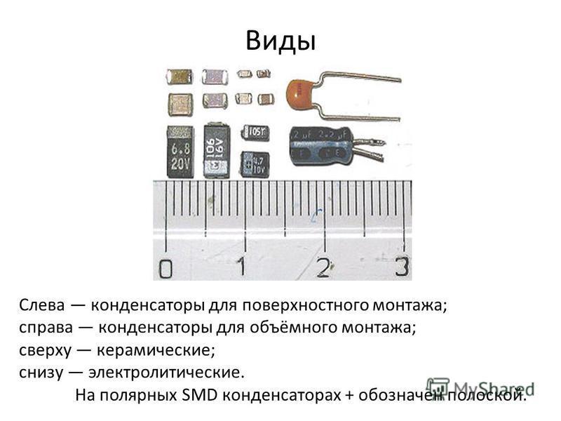 Виды Слева конденсаторы для поверхностного монтажа; справа конденсаторы для объёмного монтажа; сверху керамические; снизу электролитические. На полярных SMD конденсаторах + обозначен полоской.