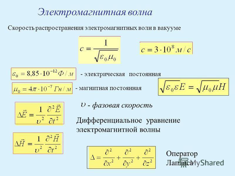 Электромагнитная волна Скорость распространения электромагнитных волн в вакууме - электрическая постоянная - магнитная постоянная Дифференциальное уравнение электромагнитной волны Оператор Лапласа - фазовая скорость