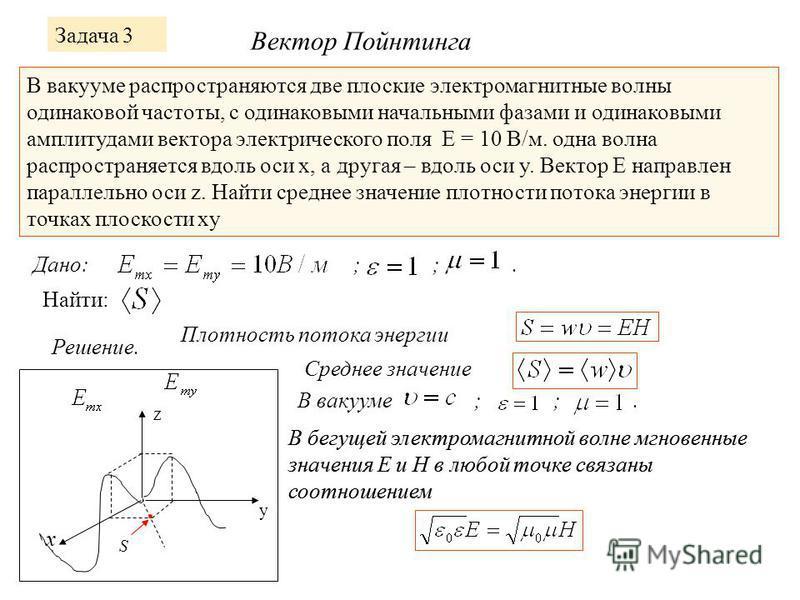 Задача 3 В вакууме распространяются две плоские электромагнитные волны одинаковой частоты, с одинаковыми начальными фазами и одинаковыми амплитудами вектора электрического поля Е = 10 В/м. одна волна распространяется вдоль оси x, а другая – вдоль оси