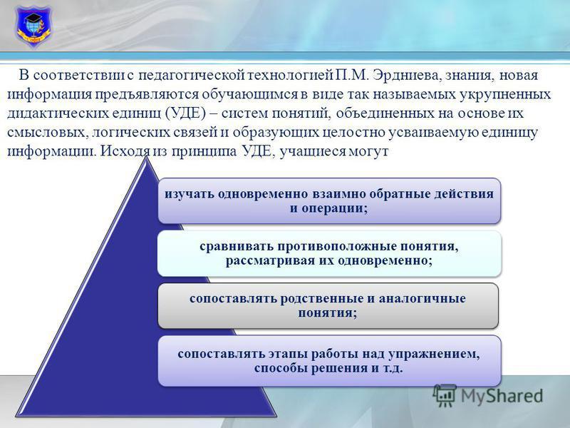 В соответствии с педагогической технологией П.М. Эрдниева, знания, новая информация предъявляются обучающимся в виде так называемых укрупненных дидактических единиц (УДЕ) – систем понятий, объединенных на основе их смысловых, логических связей и обра