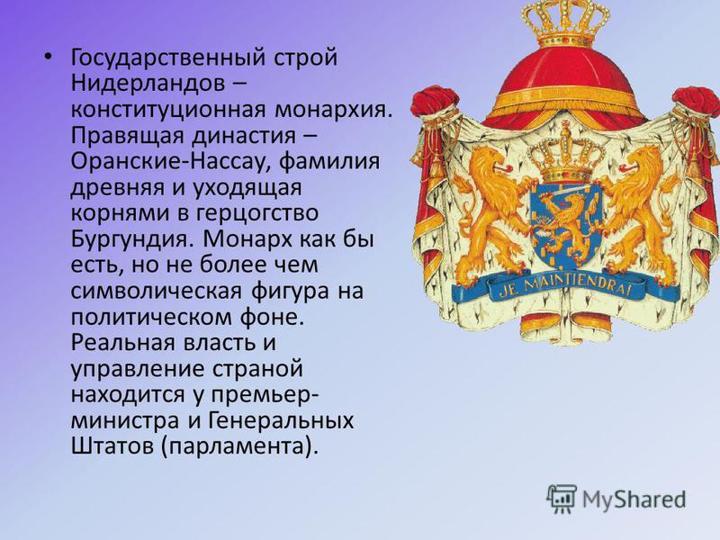 Государственный строй Нидерландов – конституционная монархия. Правящая династия – Оранские-Нассау, фамилия древняя и уходящая корнями в герцогство Бургундия. Монарх как бы есть, но не более чем символическая фигура на политическом фоне. Реальная влас