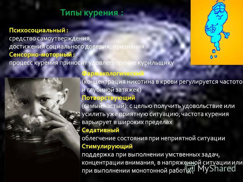 Типы курения : Психосоциальный : средство самоутверждения, достижения социального доверия, признания Сенсорно - моторный : процесс курения приносит удовлетворение курильщику Фармакологический ( концентрация никотина в крови регулируется частотой и гл