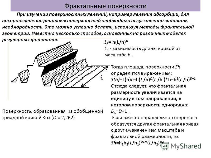 Фрактапьные поверхности Поверхность, образованная из обобщенной триадной кривой Кох (D = 2,262) L h = h(L/h) D L h - зависимость длины кривой от масштаба h. Тогда площадь поверхности Sh определится выражением: S(h)=L(h)L=h(L /h) D (L /h )*h=h 2 (L /h