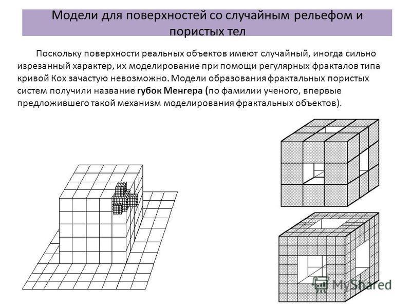 Модели для поверхностей со случайным рельефом и пористых тел Поскольку поверхности реальных объектов имеют случайный, иногда сильно изрезанный характер, их моделирование при помощи регулярных фракталов типа кривой Кох зачастую невозможно. Модели обра
