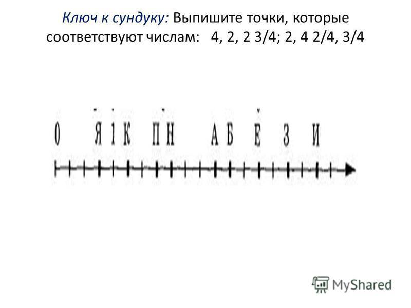 Ключ к сундуку: Выпишите точки, которые соответствуют числам: 4, 2, 2 3/4; 2, 4 2/4, 3/4