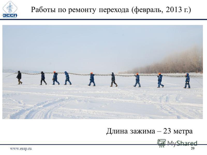 Работы по ремонту перехода (февраль, 2013 г.) Длина зажима – 23 метра www.essp.ru 20