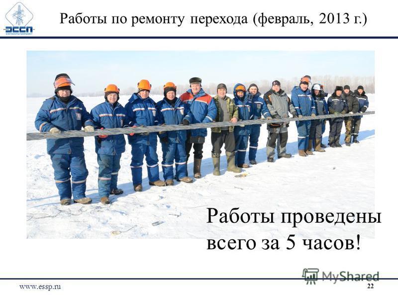 Работы проведены всего за 5 часов! Работы по ремонту перехода (февраль, 2013 г.) www.essp.ru 22