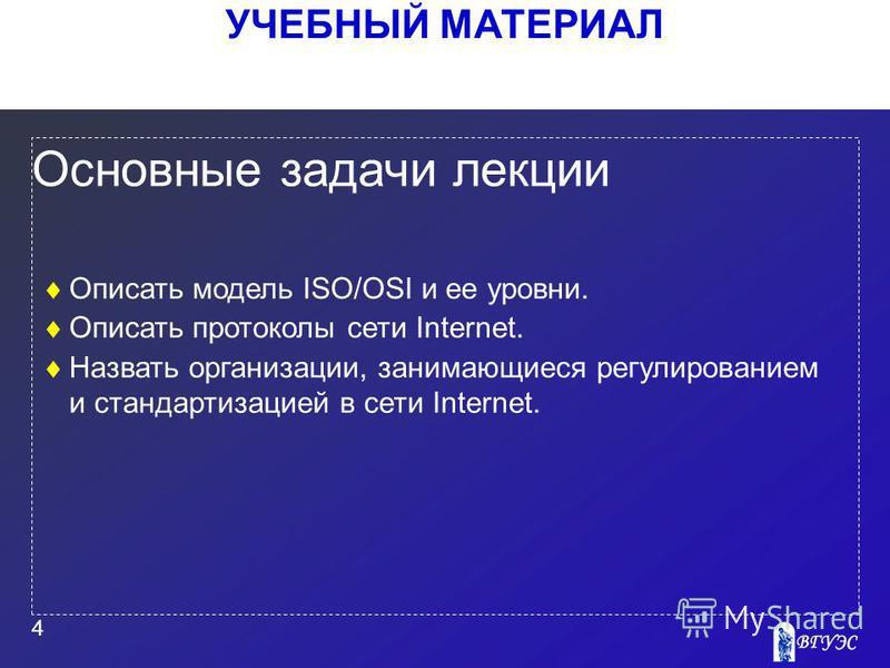УЧЕБНЫЙ МАТЕРИАЛ 4 Основные задачи лекции Описать модель ISO/OSI и ее уровни. Описать протоколы сети Internet. Назвать организации, занимающиеся регулированием и стандартизацией в сети Internet.