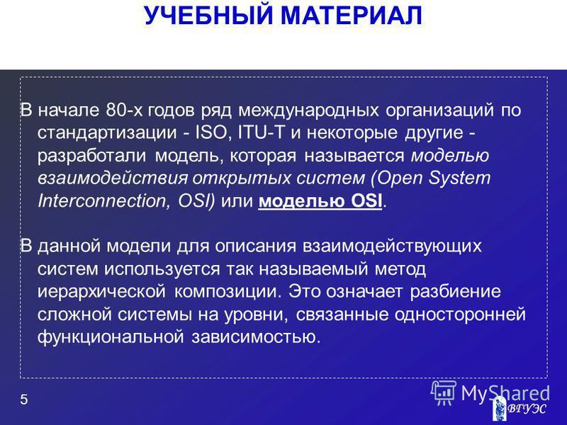УЧЕБНЫЙ МАТЕРИАЛ 5 В начале 80-х годов ряд международных организаций по стандартизации - ISO, ITU-T и некоторые другие - разработали модель, которая называется моделью взаимодействия открытых систем (Open System Interconnection, OSI) или моделью OSI.