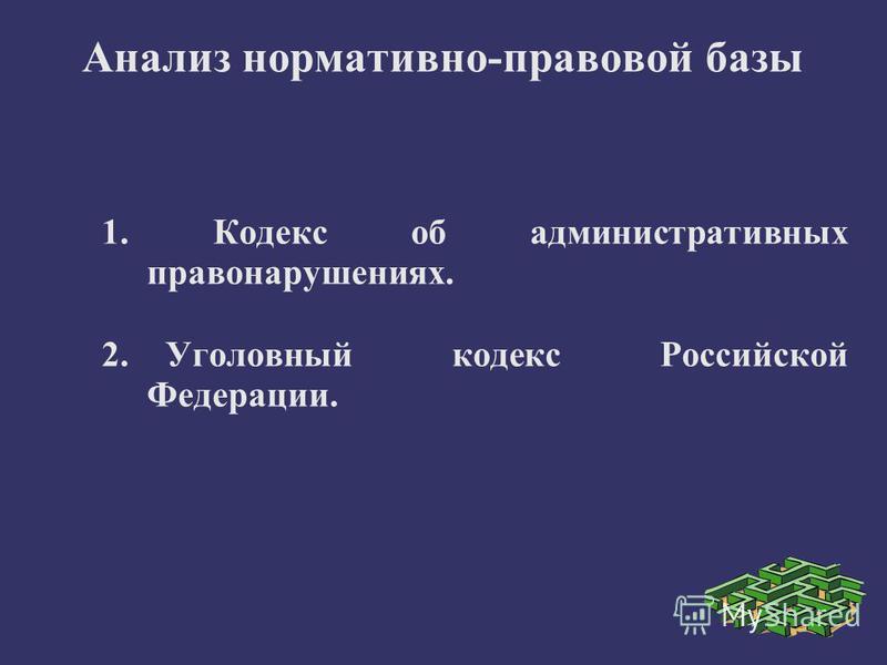 Анализ нормативно-правовой базы 1. Кодекс об административных правонарушениях. 2. Уголовный кодекс Российской Федерации.