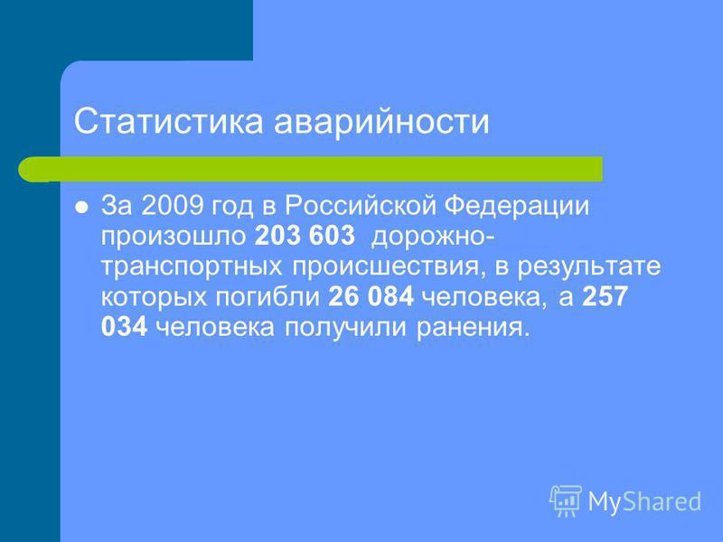 Статистика аварийности За 2009 год в Российской Федерации произошло 203 603 дорожно- транспортных происшествия, в результате которых погибли 26 084 человека, а 257 034 человека получили ранения.