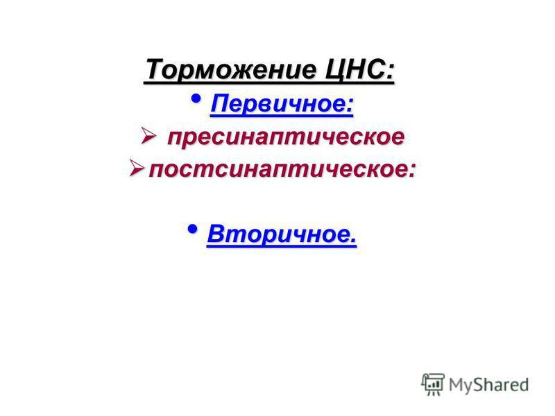 Торможение ЦНС: Первичное: Первичное: пресинаптическое пресинаптическое постсинаптическое: постсинаптическое: Вторичное. Вторичное.