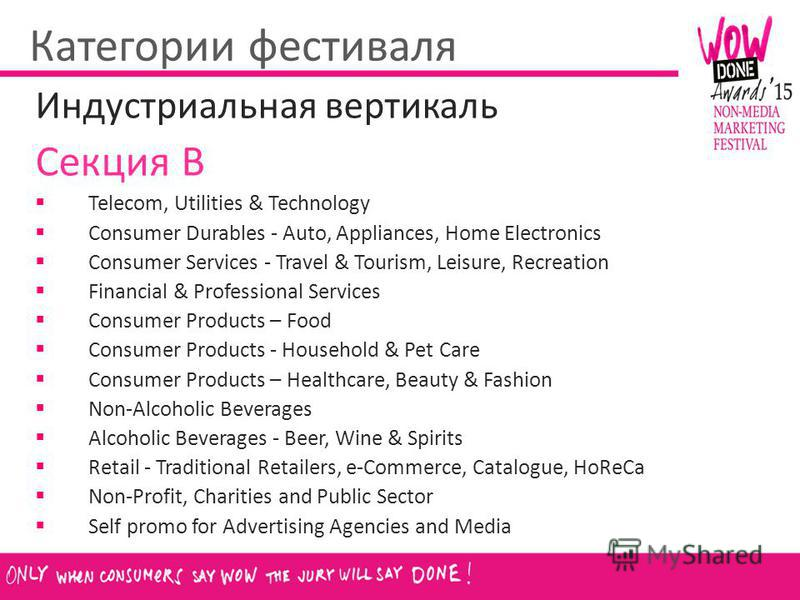 Категории фестиваля Индустриальная вертикаль Секция B Telecom, Utilities & Technology Consumer Durables - Auto, Appliances, Home Electronics Consumer Services - Travel & Tourism, Leisure, Recreation Financial & Professional Services Consumer Products