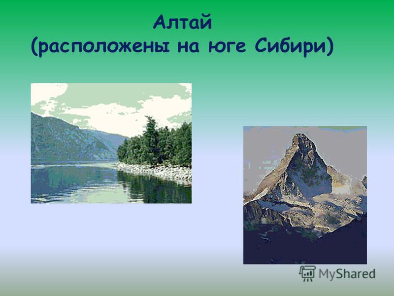 Алтай (расположены на юге Сибири)