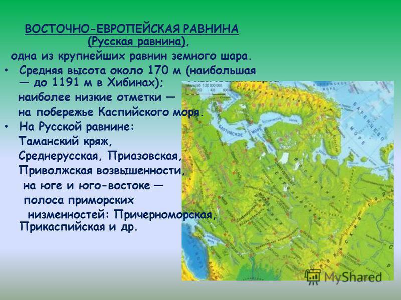 ВОСТОЧНО-ЕВРОПЕЙСКАЯ РАВНИНА (Русская равнина), одна из крупнейших равнин земного шара. Средняя высота около 170 м (наибольшая до 1191 м в Хибинах); наиболее низкие отметки на побережье Каспийского моря. На Русской равнине: Таманский кряж, Среднерусс